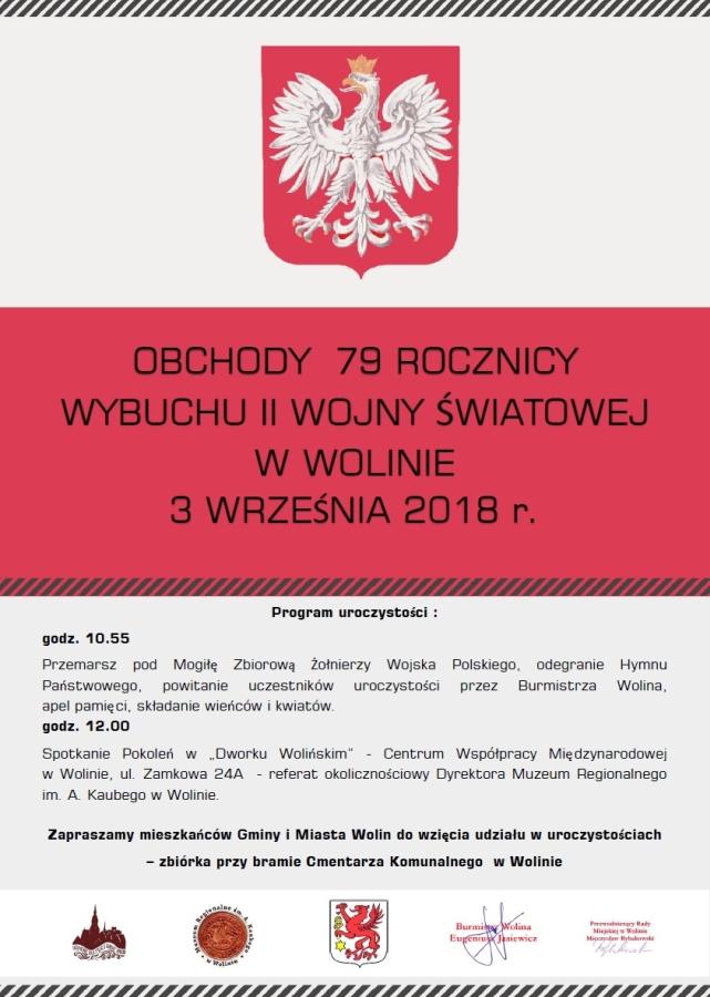 Obchody 78 rocznicy wybuchu II wojny światowej w Wolinie