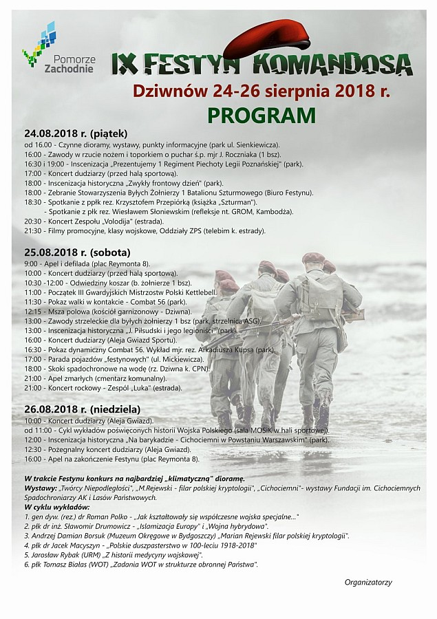 Program IX Festynu Komandosa w Dziwnowie 2018
