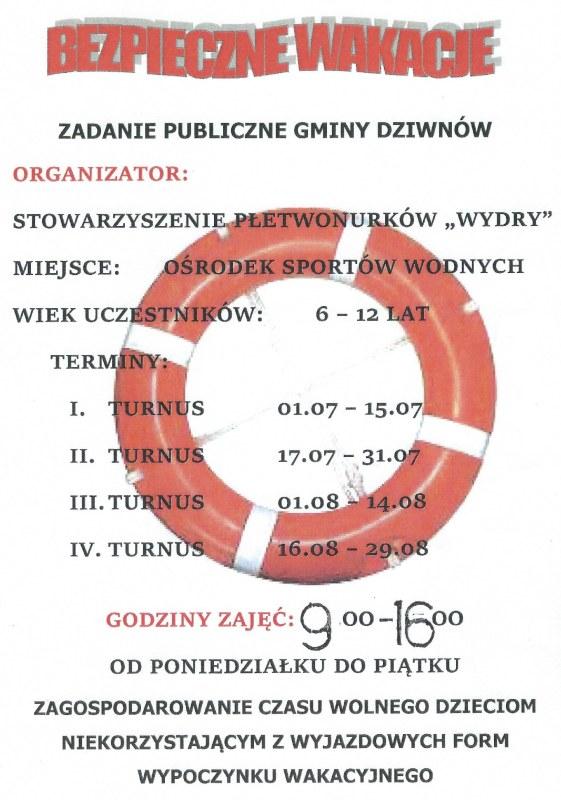 Ruszają Bezpieczne Wakacje dla dzieci z gminy Dziwnów